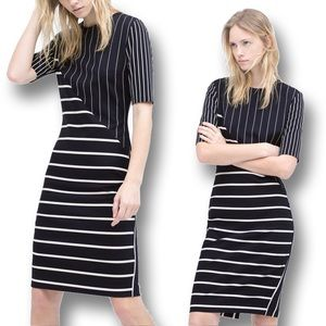 Zara Stretchy Striped Patchwork Tube Dress Size S
